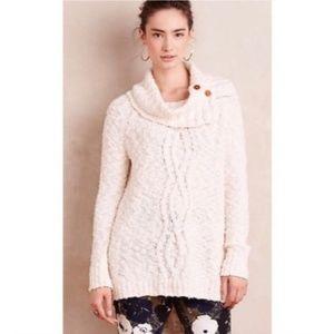 ANTHRO MOTH Knit Cream Cowl Neck Button Sweater M